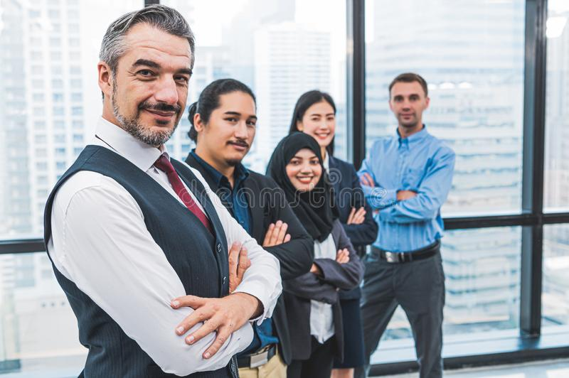 Portrait of business people group having confident in successful job in modern office background. People lifestyl and partnership stock images