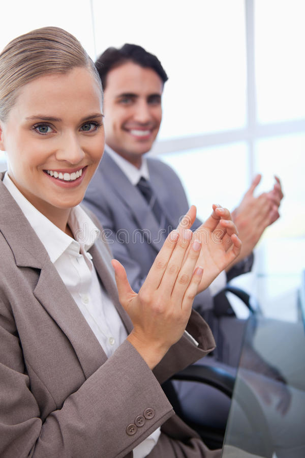 Download Portrait Of A Business Team Applauding Stock Photo - Image: 22235786