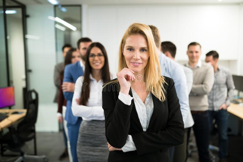 Portrait of business team posing in office royalty free stock image
