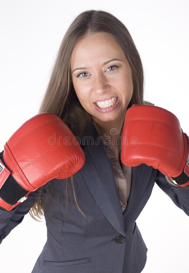 Download Portrait Of Business Woman Boxing In Red Gloves. Business Activity Stock Image - Image: 31986377