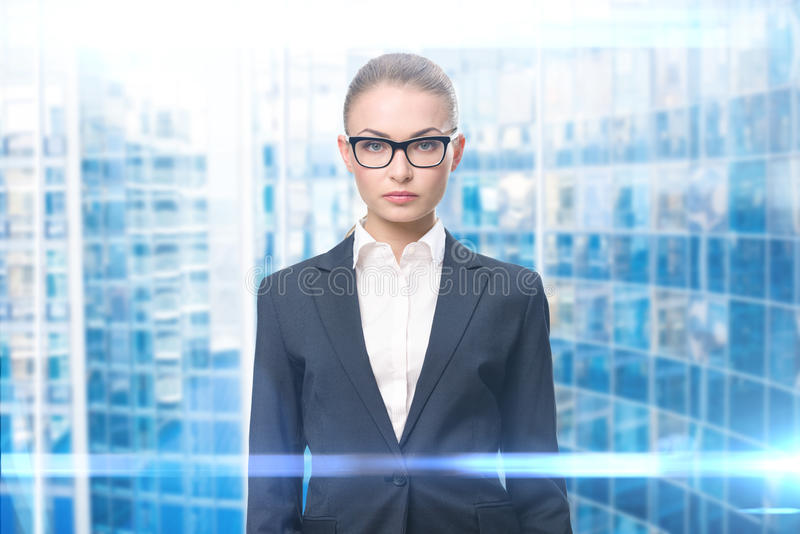 Portrait of business woman in glasses royalty free stock image