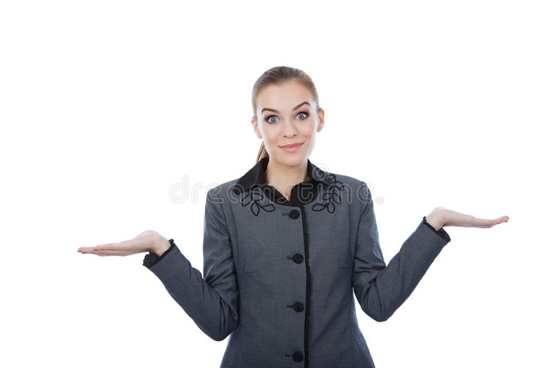 Portrait of a business woman with her empty palms extended royalty free stock photo