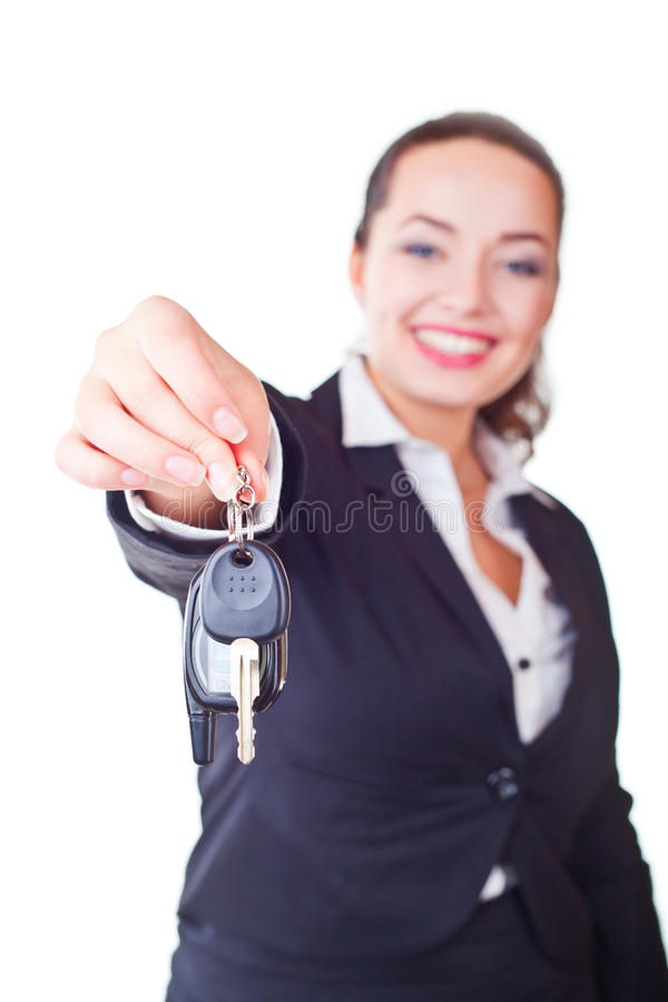 Portrait Of Business Woman With The Keys Royalty Free Stock Photography