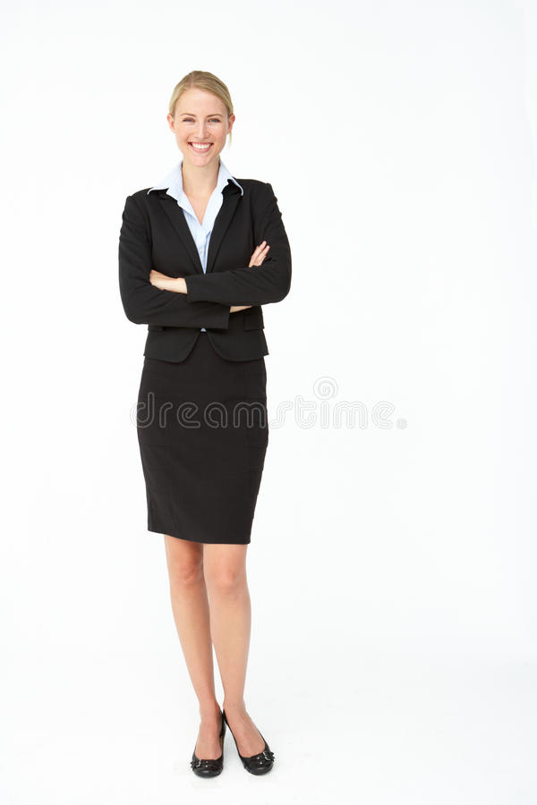 Portrait of business woman in suit. Smiling stock images