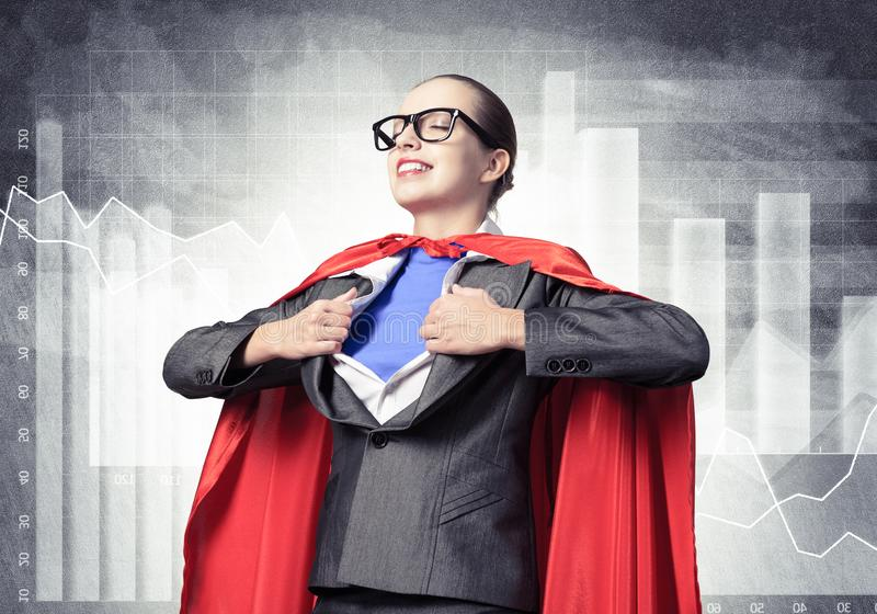 Portrait of business woman super heroine royalty free stock photo