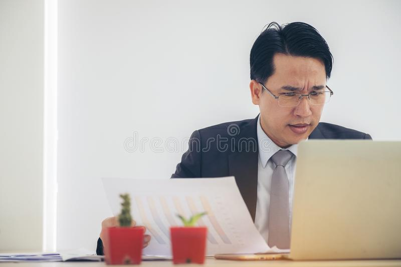 Portrait Businessman depressed by working in office. Strain, bus royalty free stock image