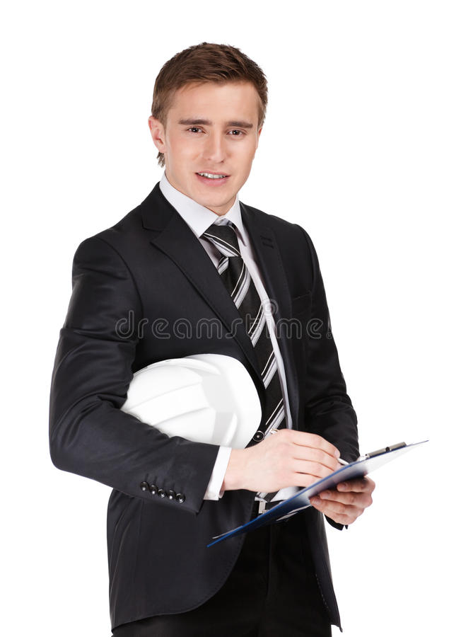 Download Portrait Of Businessman With Helmet Stock Photo - Image of black, architect: 26880776