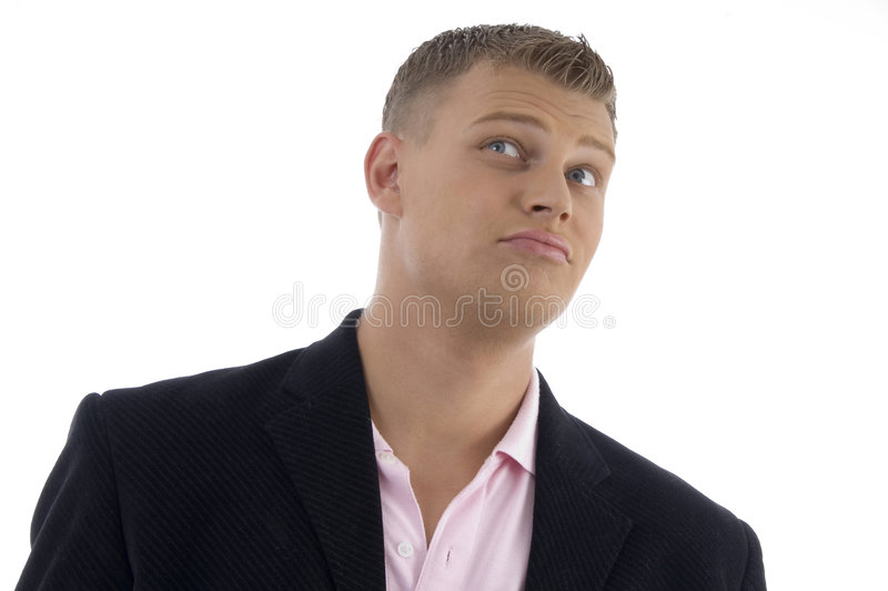Portrait of businessman looking upward. On an isolated background stock image
