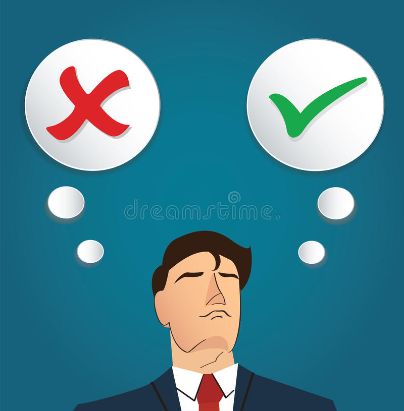 Portrait of businessman make decision , true or false vector royalty free illustration