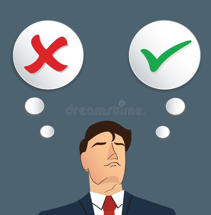 Portrait of businessman make decision , true or false vector royalty free illustration