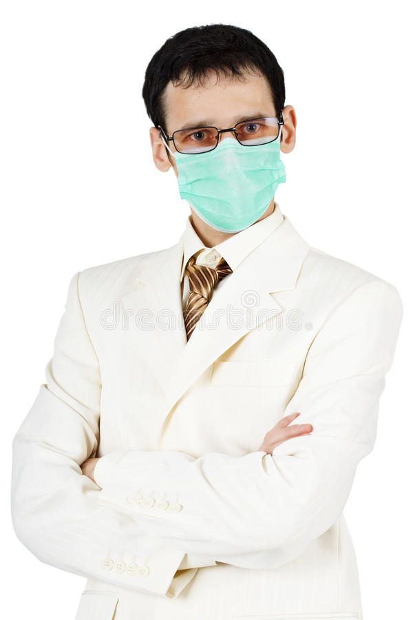 Portrait of businessman in medical mask royalty free stock images