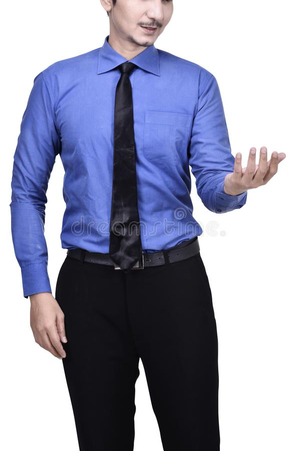 Portrait of businessman showing empty hand royalty free stock photo