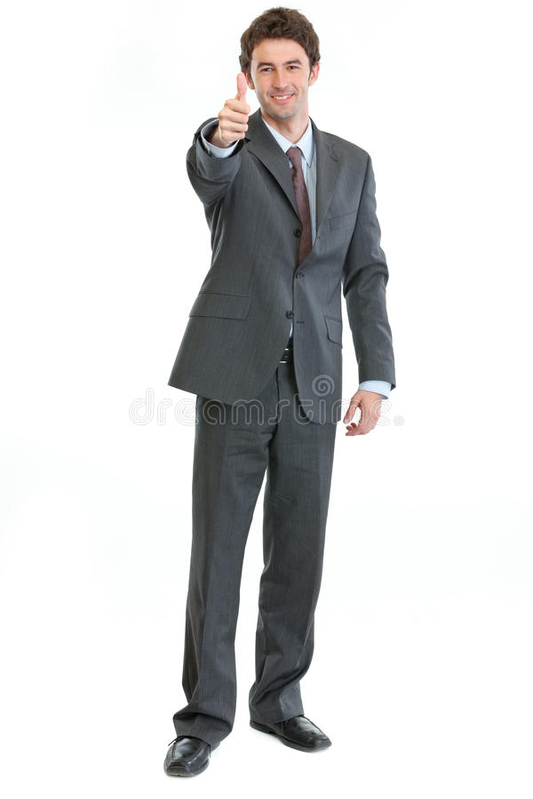 Portrait of businessman showing thumbs up royalty free stock photos