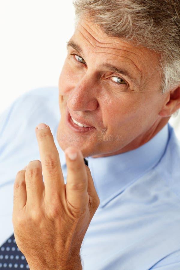 Download Portrait Of Businessman Smiling At Camera Stock Image - Image of pensive, finger: 19907187