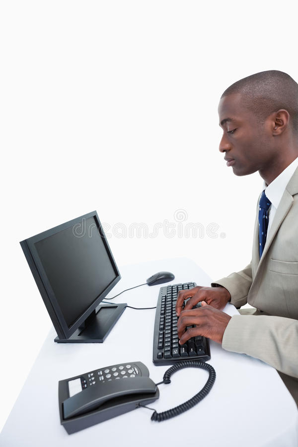 Download Portrait Of A Businessman Using A Computer Stock Image - Image: 22693163
