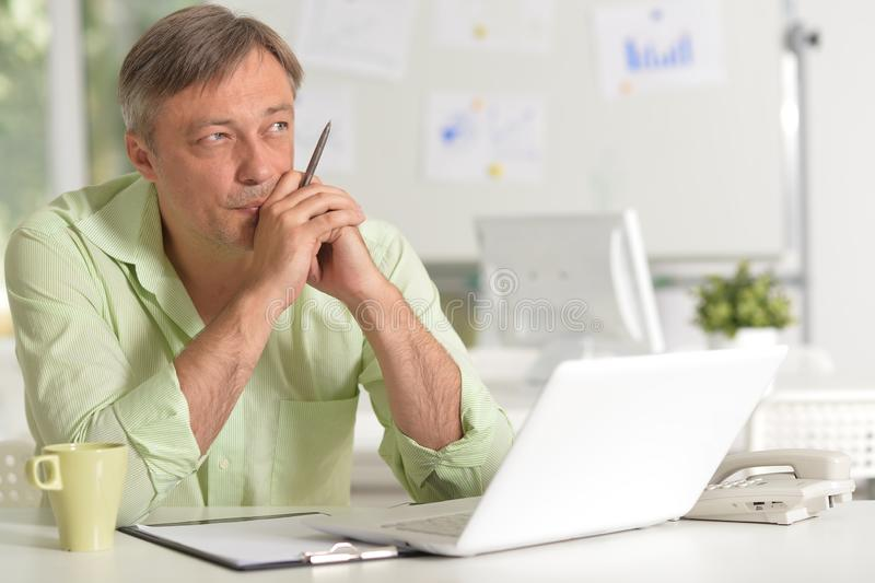Portrait of a businessman working with laptop at home royalty free stock photos