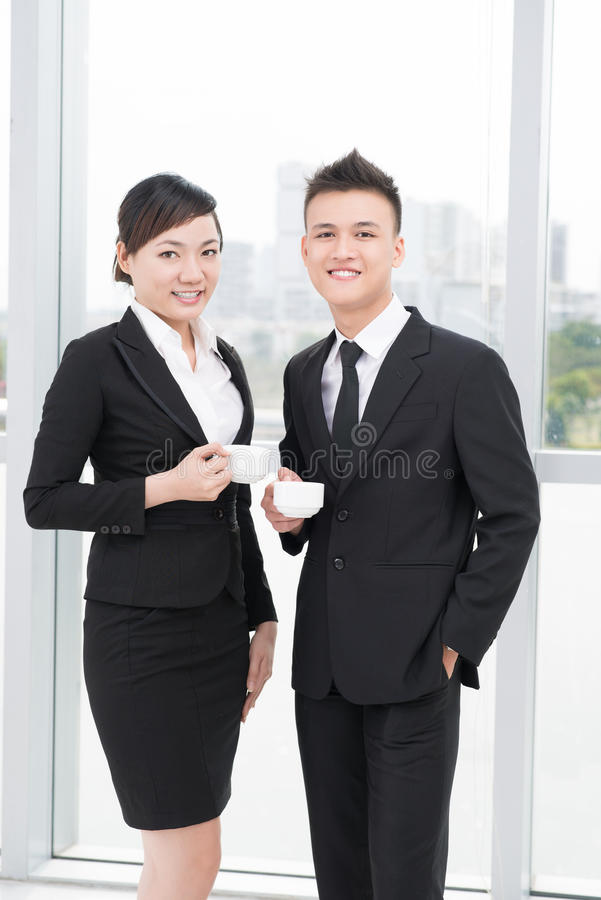 Download Pretty businesspeople stock photo. Image of coffee, cheerful - 30095194