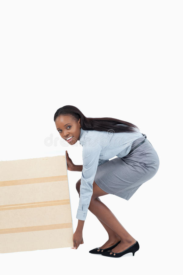 Portrait Of A Businesswoman Dragging A Panel Royalty Free Stock Images