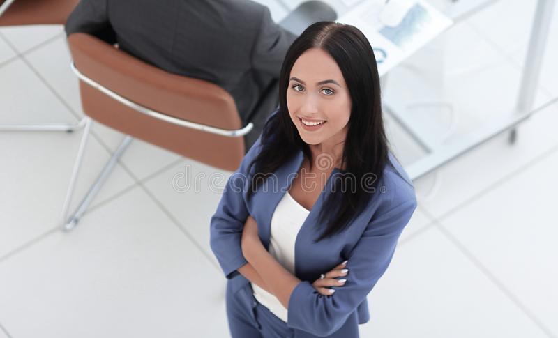 Portrait of businesswoman and her colleagues on background stock photos