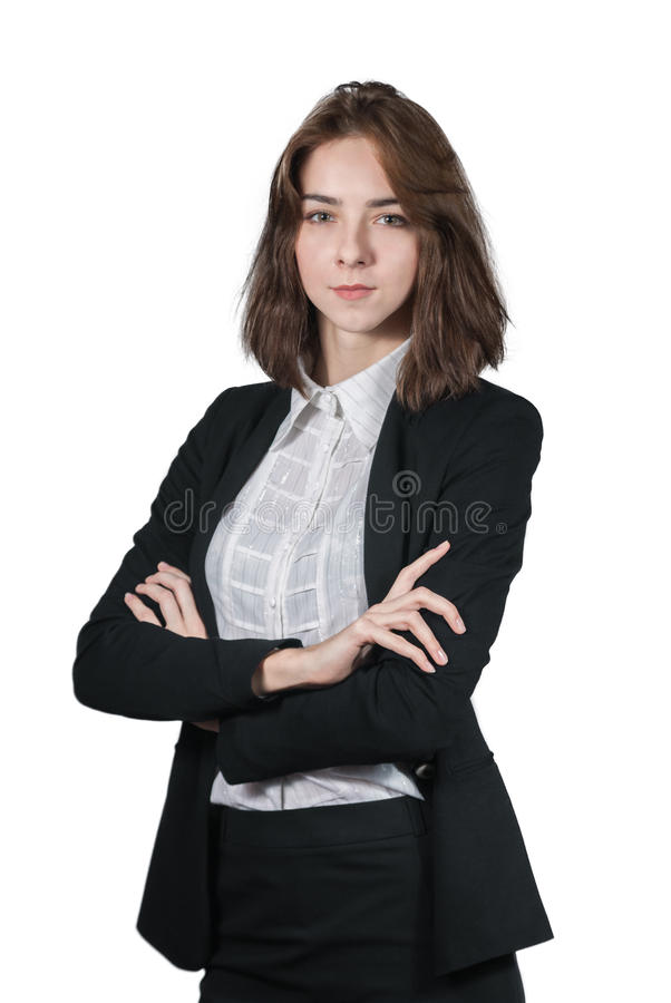 Portrait of businesswoman isolated on white stock images