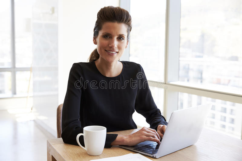 Portrait Of Businesswoman Working On Laptop In Boardroom stock photos