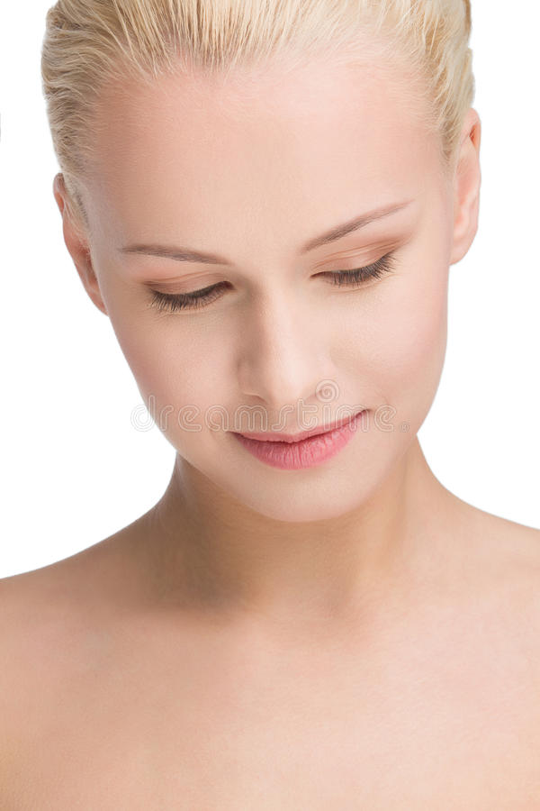 Portrait of calm beautiful blond stock images