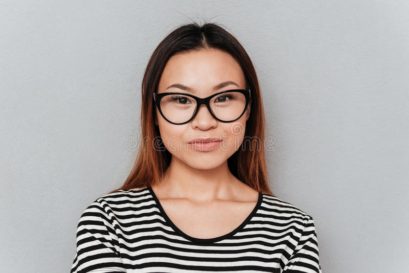 Portrait of calm pretty asian woman royalty free stock photography