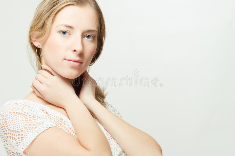 Portrait of calm young woman royalty free stock photo
