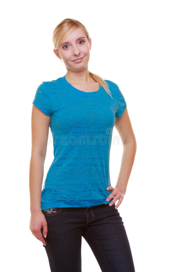 Download Portrait Casual Blond Smiling Girl Female Student Isolated. Education College. Stock Photo - Image: 35714518