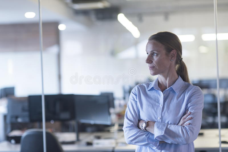 Portrait of casual business woman at office. Portrait of casual business women at her modern start up business office interior stock photo