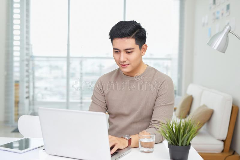 Portrait of a casual smiling young man using laptop at home royalty free stock photography