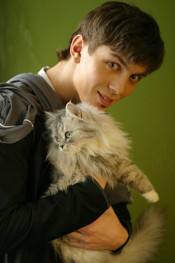 Portrait with a cat royalty free stock photography