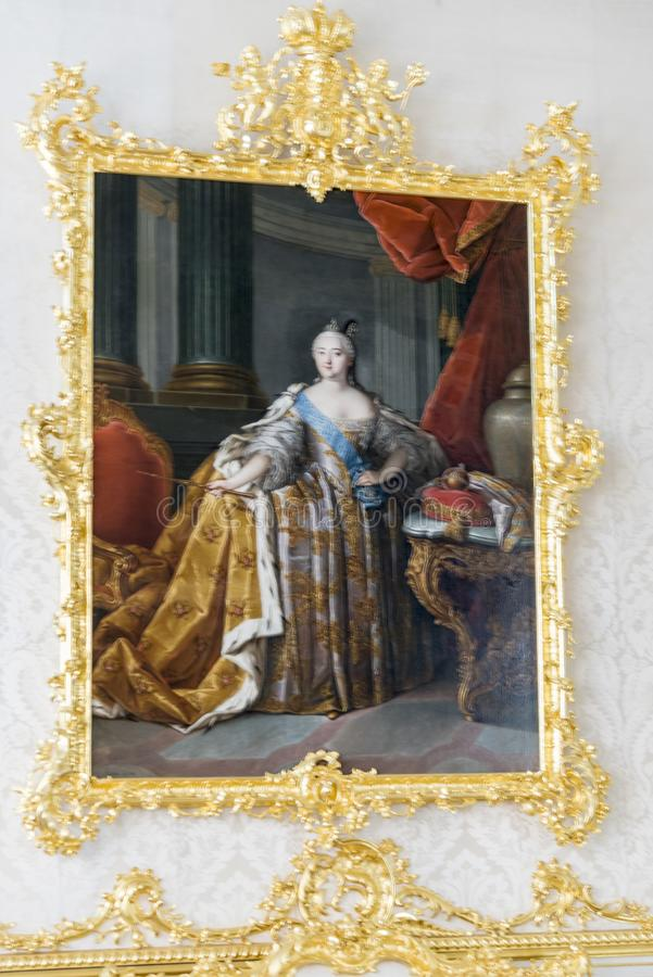 Portrait of Catherine in Catherine Palace St Petersburg Russia. Baroque 18th-century palace with large grounds where Russian royal family spent their summers stock photos