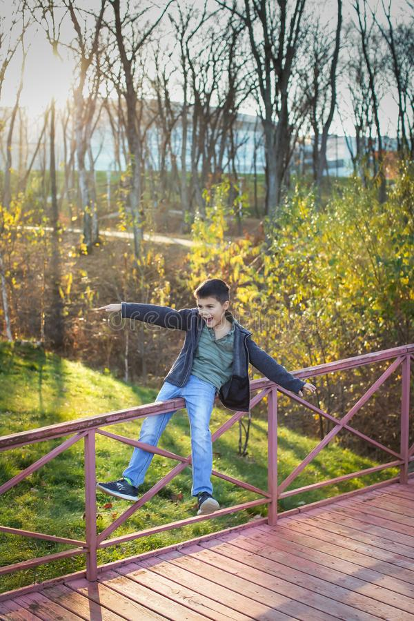 Portrait of caucasian boy in warm clothes playing and balancing on railing of the bridge in autumn park stock image