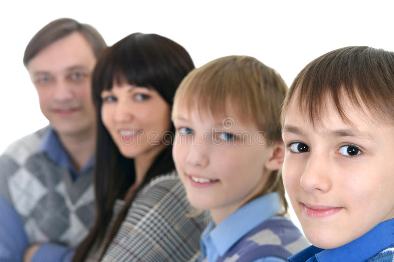 Portrait of Caucasian family of four stock photography