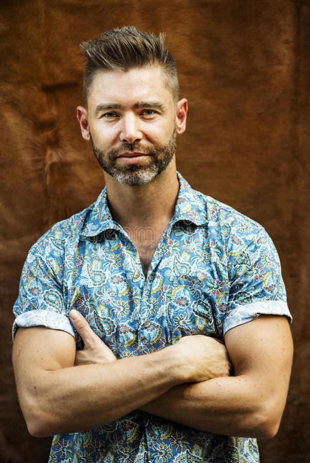 Portrait of caucasian man with arms crossed stock photo