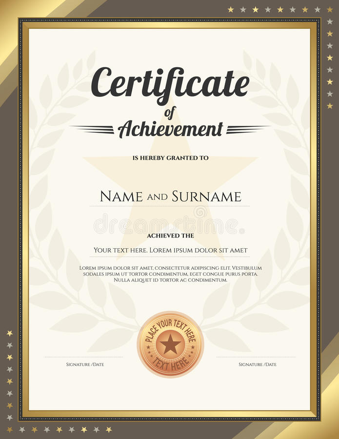 Download Portrait Certificate Of Achievement Template With Gold Border  Stock Vector   Illustration Of Elegant,  Name A Star Certificate Template