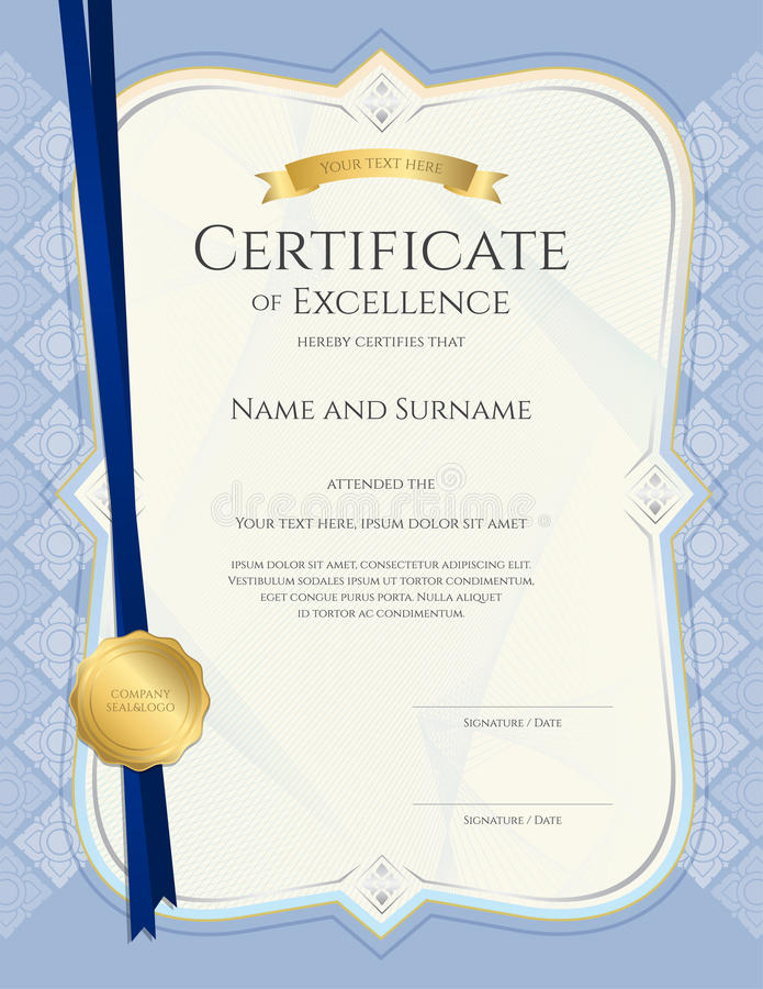 Portrait Certificate Of Achievement Template In Vector With Appl ...