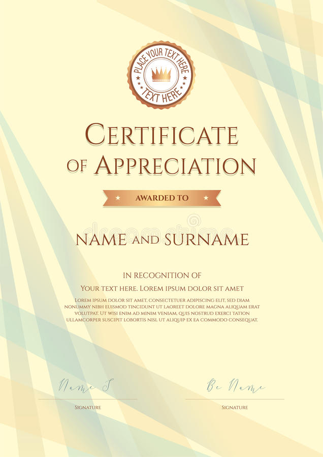 portrait certificate of appreciation template with award ribbon stock vector