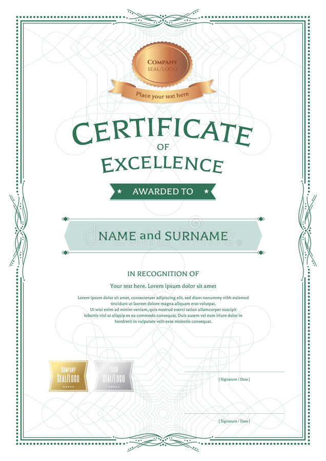 portrait certificate of appreciation template with award