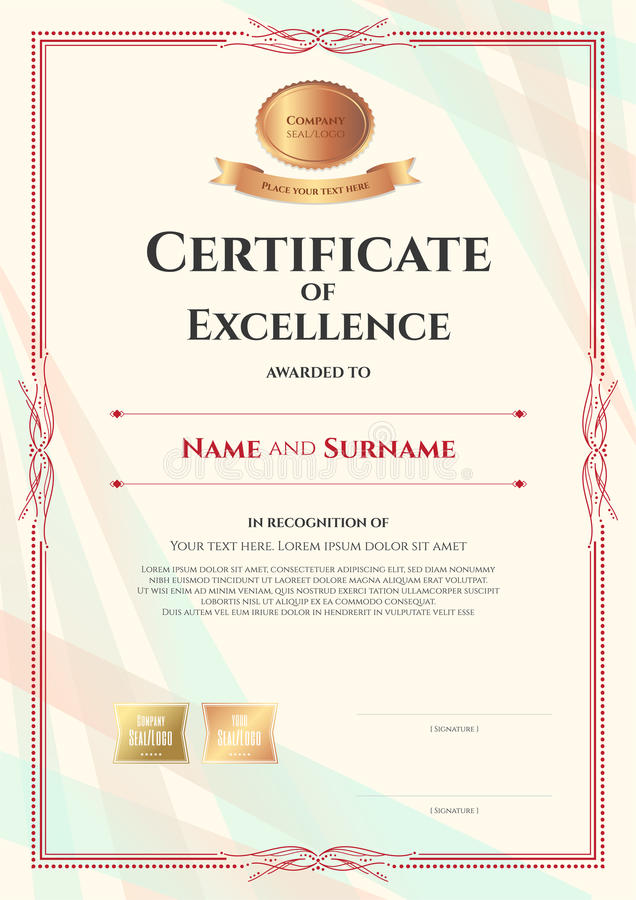 Portrait Certificate Of Excellence Template On Abstract Ribbon B ...
