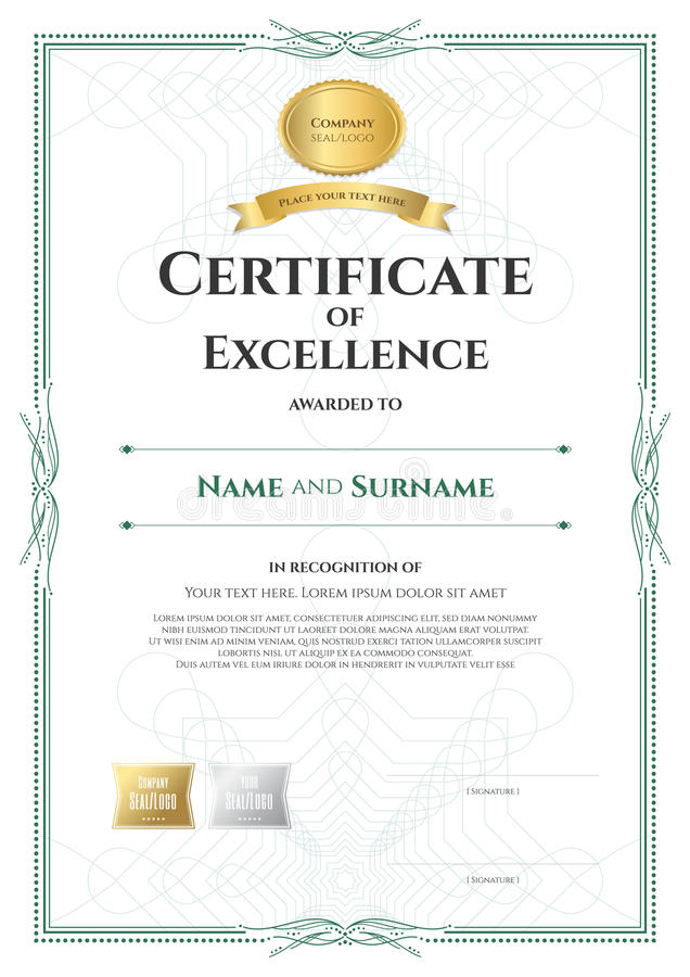 Download Portrait Certificate Of Excellence Template With Award Ribbon On  Stock Vector   Image: 95808515