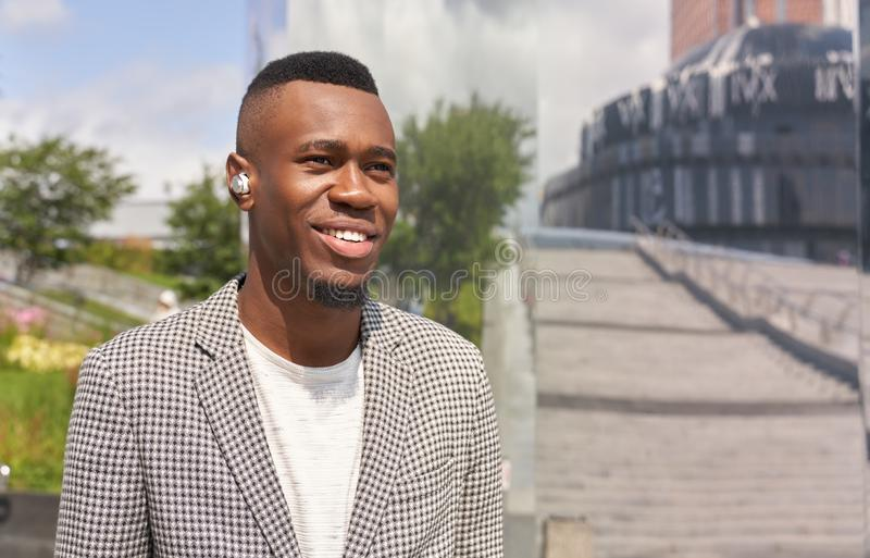 Portrait of charismatic positive Afro American guy royalty free stock photos
