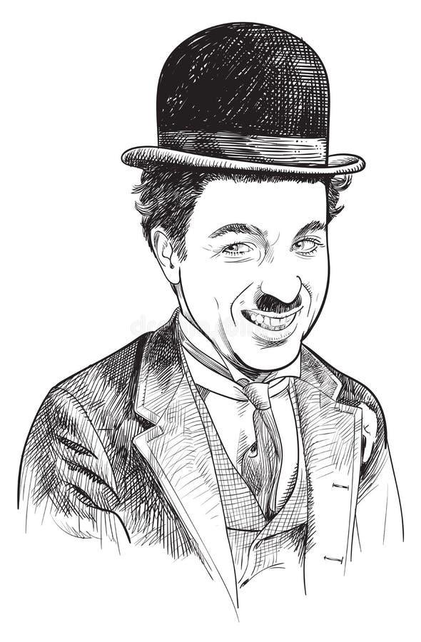 Portrait Charlie Chaplin de style de schéma illustration stock