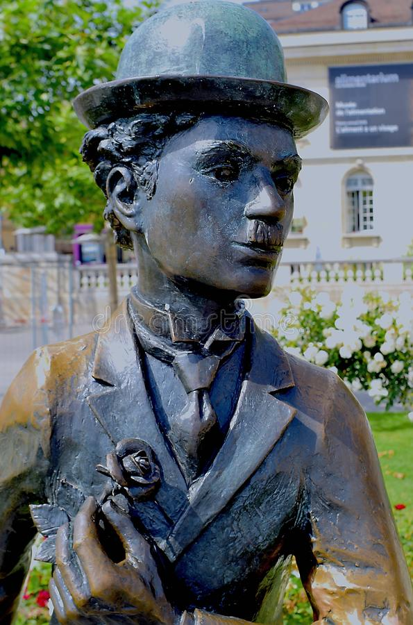 Portrait of Charlie Chaplin statue in Vevey in the sun stock image