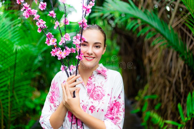 Portrait charming beautiful caucasian woman. Gorgeous woman hold stock image
