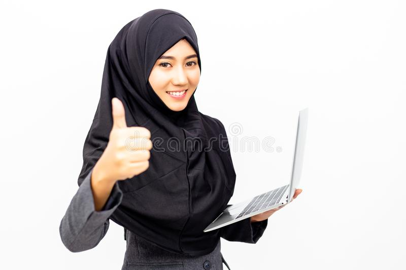 Portrait charming beautiful Muslim business woman. Attractive be royalty free stock image