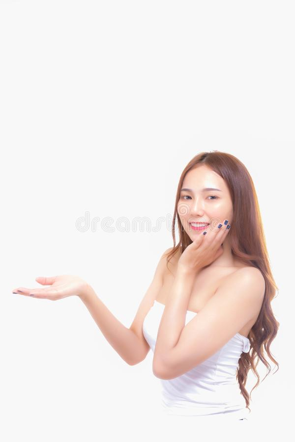 Portrait charming beautiful woman. Attractive beautiful wom. An is showing or advertising some product, brand or goods to customer. Gorgeous asian woman love royalty free stock image