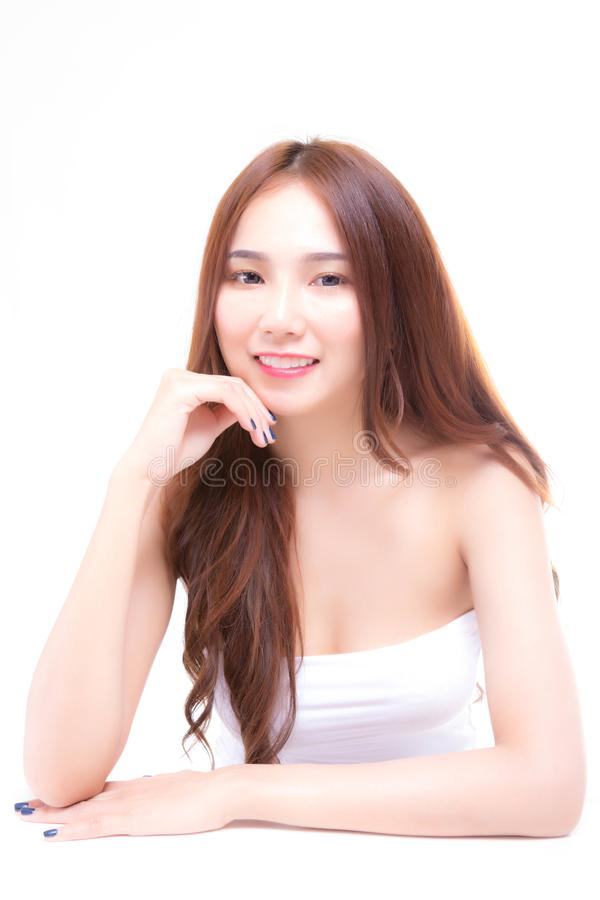 Portrait charming beautiful woman. Attractive beautiful girl has. Nice or smooth skin and beautiful face. Gorgeous asia woman wear tube top. Glamour woman feels royalty free stock photography
