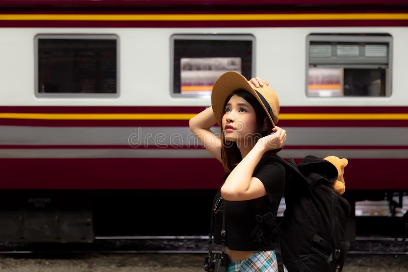 Portrait charming beautiful woman. Attractive beautiful tourist royalty free stock images